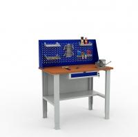 Верстак металлический EXPERT W120 с ящиком и экраном